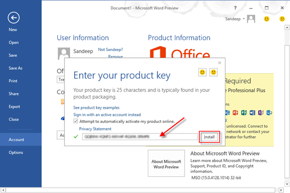 how to activate microsoft office 2013 with a different product key